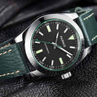 Parnis Classic Dress 40mm black dial luminous hands Top Brand Leather strap sapphire glass 21 jewels MIYOTA Automatic mens watch