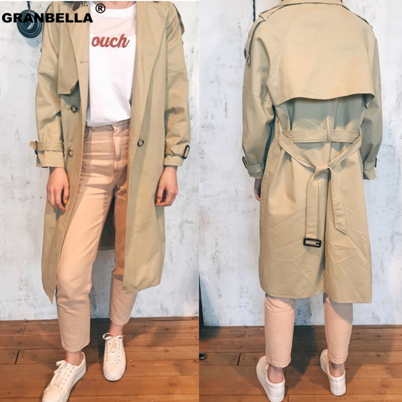 Popular design 2019 women's long   trench   coat vintage double breasted female windbreaker cloak outwear grey khaki color coats