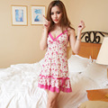 2016 New Arrival Women's Fashion Sexy Lace Hallow Out Slip Sleeping Dress Nightgowns Sleepwear Set with G-string