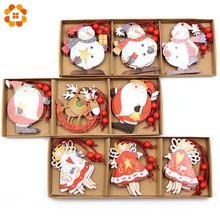 12PCS/Box Creative DIY Christmas Wooden Pendants Ornaments Party Decorations Tree Wood Craft Gift