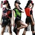Новая Мода хип-хоп топ танец женщины Джаз износ производительности костюм этап одежда Хэллоуин череп кисточкой Неоновые свободные Сексуальные футболки