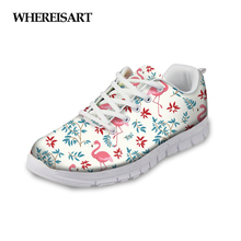 WHEREISART Flamingo Prints Women Sneakers Mesh Casual Flat Breathable Walking Shoes White Female Lace-up Ladies Zapatillas Mujer