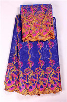 Senior Royal Blue Flowers Print Linens Bazin Brode African Embroidered Fabric Bazin Riche Getzner For Party