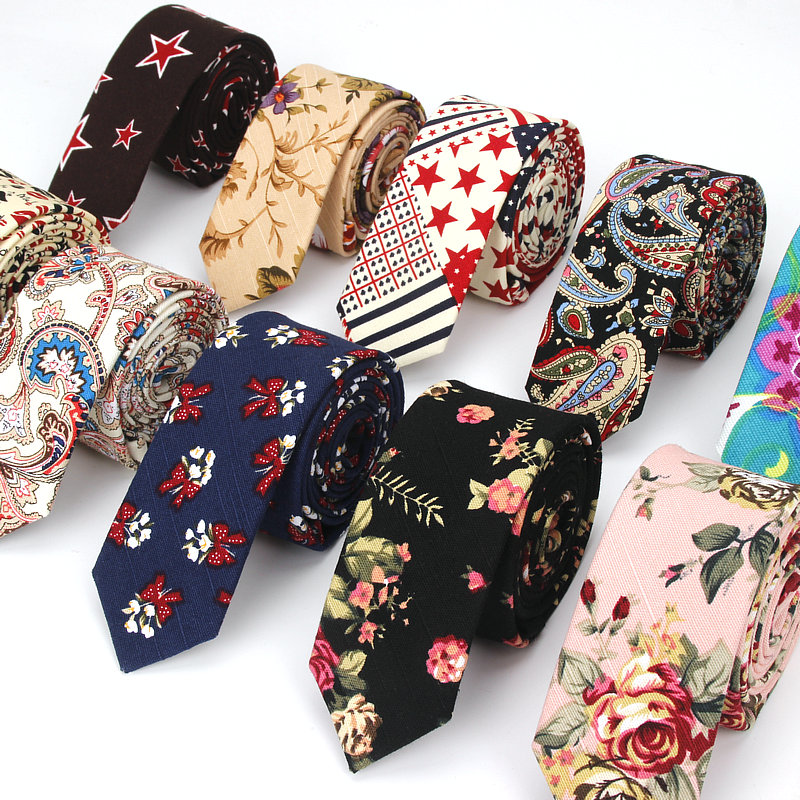 Men Slim Tie Casual Cotton Linen Neck Ties For Man Skinny Designer Flower Animal Narrow Vintage Floral Wedding Necktie Corbatas