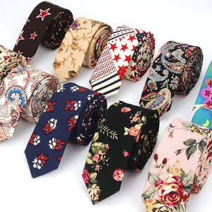 Neck-Ties Slim-Tie Flower Linen Animal Wedding Skinny Floral Designer Vintage Cotton