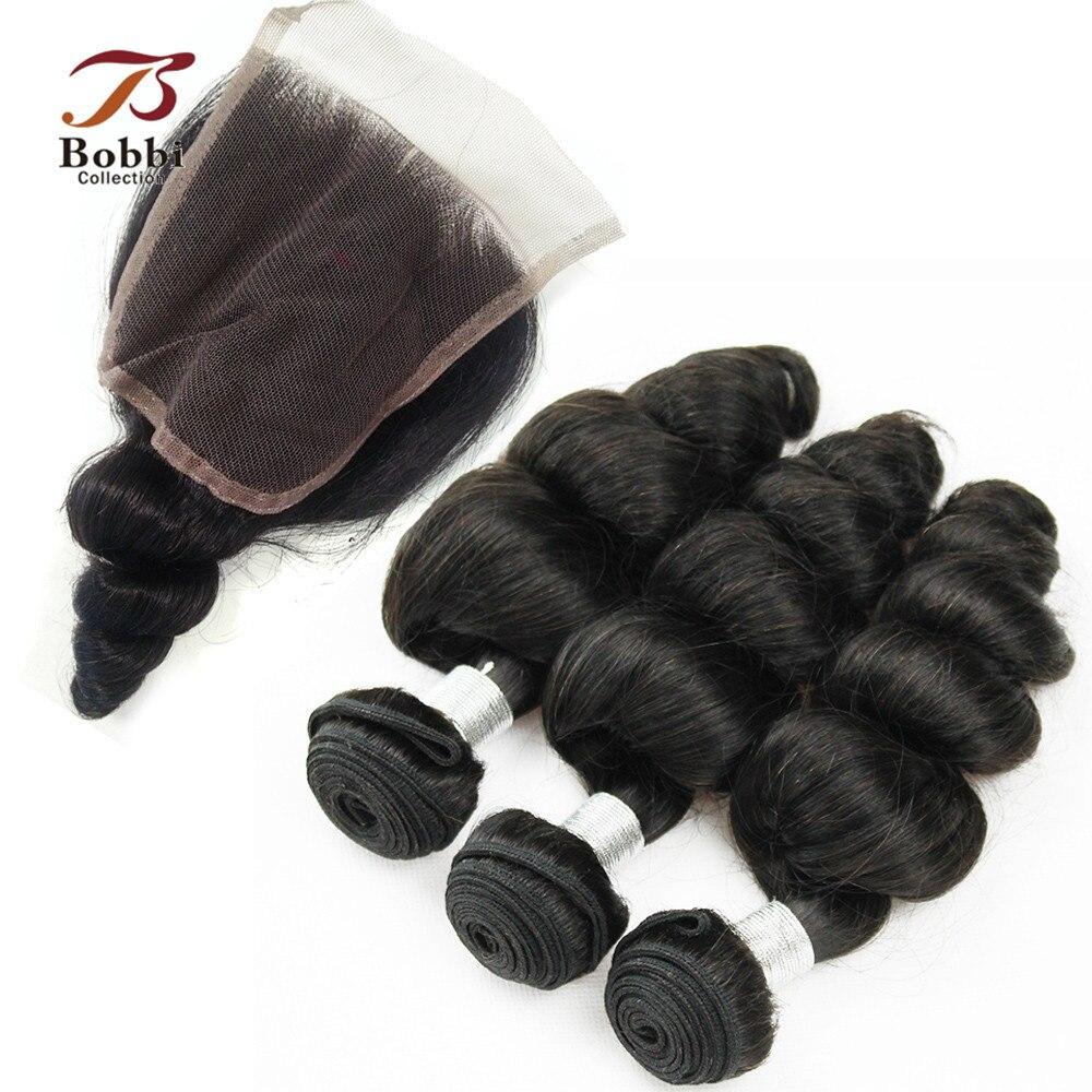 Peruvian Loose Wave Bundles With Closure 2/3 Bundles With Closure Natural Color Non Remy Human Hair Weave BOBBI COLLECTIO