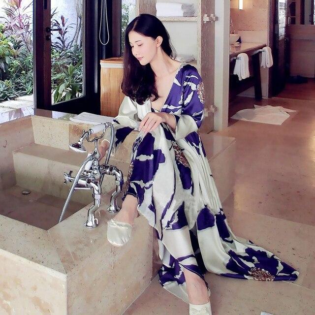 Бесплатная Доставка женщин С Длинным Халат Королевский Фиолетовый Синий Пижамы Шелковый Цветок Атласная Двух Частей Набор Платье Наборы