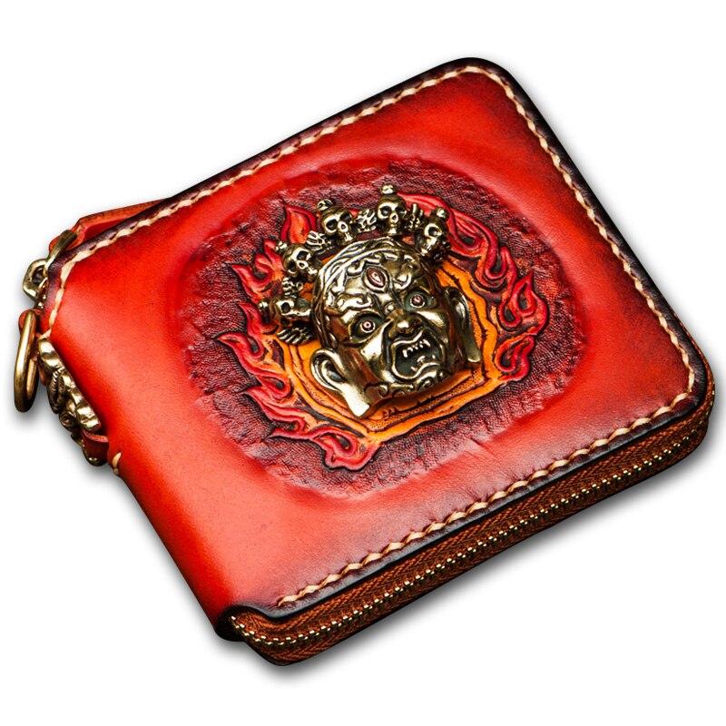 Неповторимый оригинальный ручной женские кошельки Короткие тайна Тибетский Аватар украшения натуральная кожа короткие молнии мужские пор