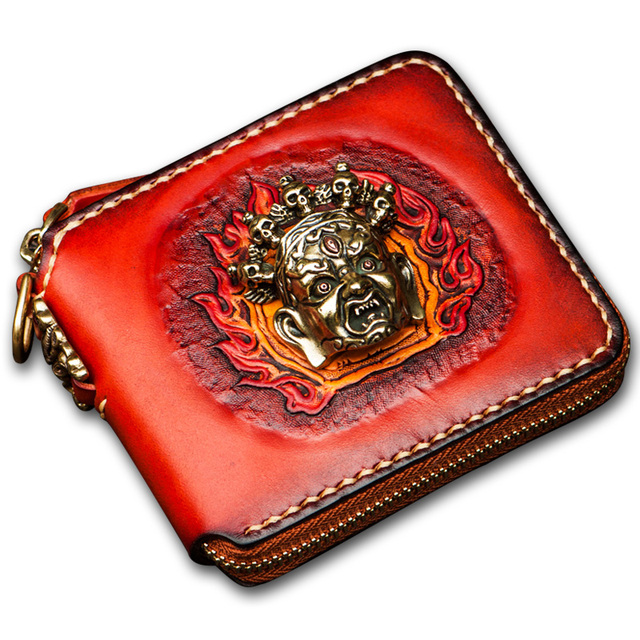 Unique original handmade women wallets Short mystery Tibetan avatar decoration genuine leather Short zipper men coin purse