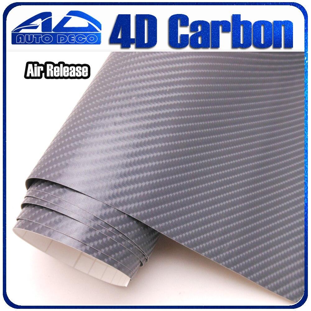 08a425fa4794b 1.52   30 m   roll cinza filme envoltório carro de vinil de fibra de  carbono estilo do carro adesivo com bolha de ar livre FedEx frete grátis