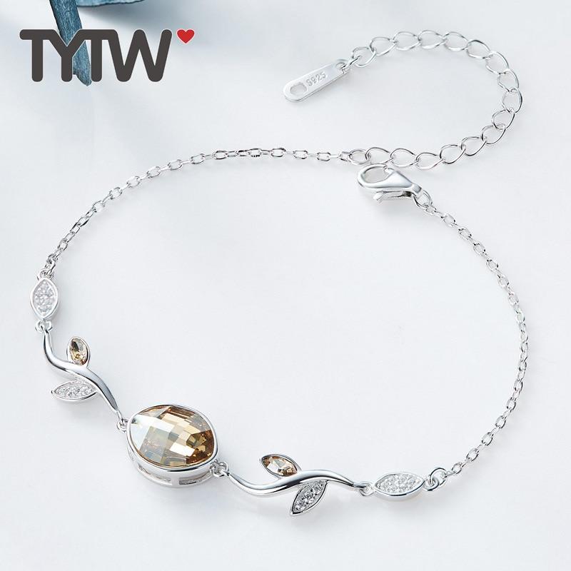 TYTW S925 Cristales de plata esterlina de Swarovski lady Brazalete de - Bisutería - foto 1