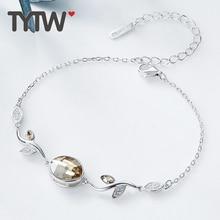 TYTW S925 Sterling Silber Kristalle von Swarovski Lady Frau Armband gelb grün lila Farbe Kristalle Frauen Schmuck Armband