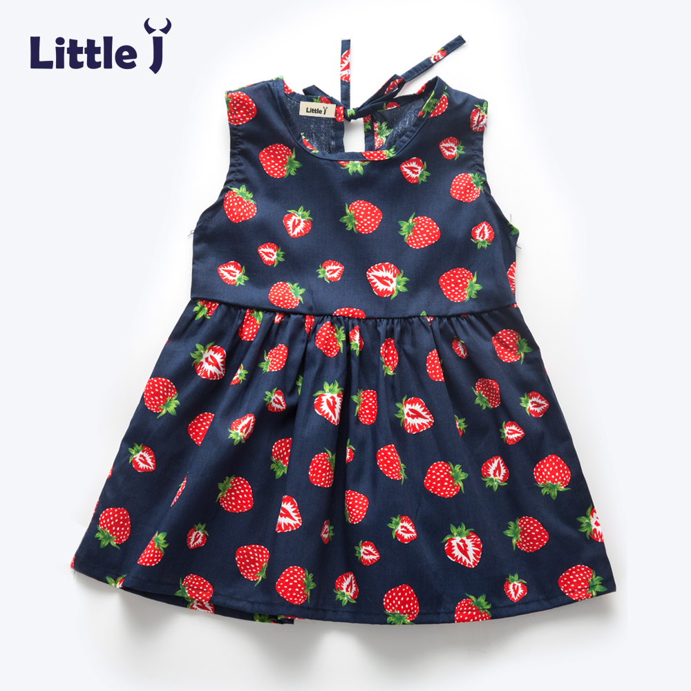 Little J Summer Girls Dress Kids Sleeveless Strawberry Printed Princess Dress Cotton Vestidos Children Clothes Bowknot Dress djeco мини игра лабиринты тесея djeco