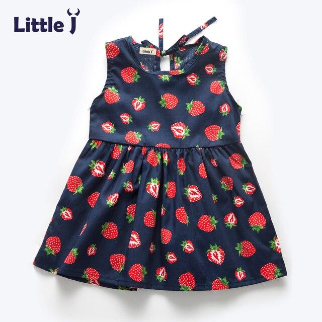 041235061c743 Peu J D été Filles Robe Sans Manche D enfants Fraise Imprimé Princesse Robe