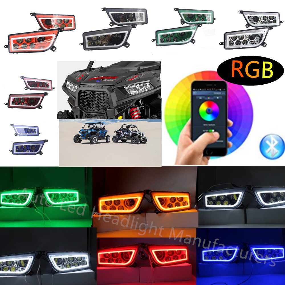 Polaris RZR Headlights LED RGB Halo Kit Multicolor RGB Halo Angle Eyes APP Bluetooth Remote Auto Accessories ATV LED Headlight polaris rzr 900 rzr 1000 xp set led headlight with halo rings angel eyes white red yellow green blue