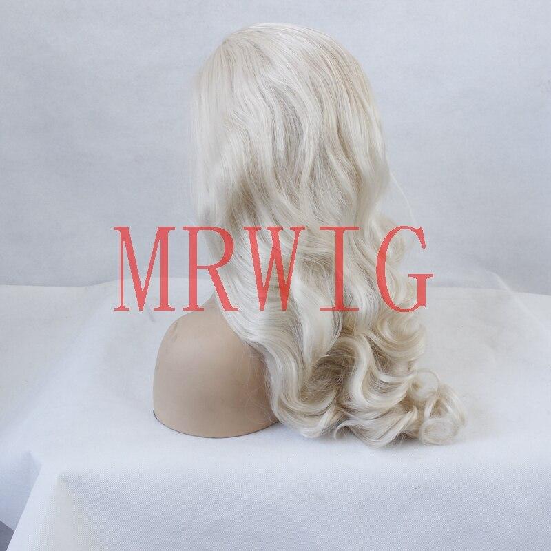MRWIG fri del lång vågig syntetisk frampigg # 0809 blont äkta hår - Syntetiskt hår - Foto 5