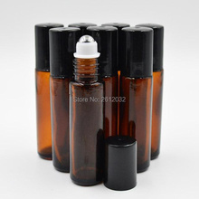 10ml (1/3oz) AMBER Brown Thick Glass Roll On Essential Oils Bottle Metal Roller Ball BY DHL Free Shipping F201765