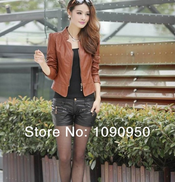 2014 new arrival women's fashion slim Simple Leather jacket coat Free shipping high quality wt9067