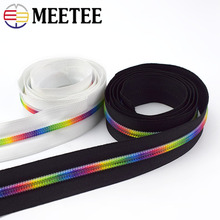 Meetee 2M/5M/10M 5# Nylon Colored Tooth Zipper Black White Cloth Code Loading DIY Home Textile Bag Sewing Accessories