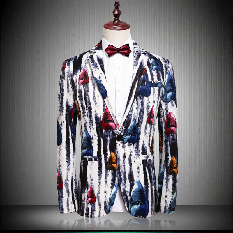 2019 新しいパターン男ブレザー Masculino スリムフィット花柄メンズスーツルースコート 4XL 優雅なウェディングパーティースタイリッシュなブレザー男性ジャケット