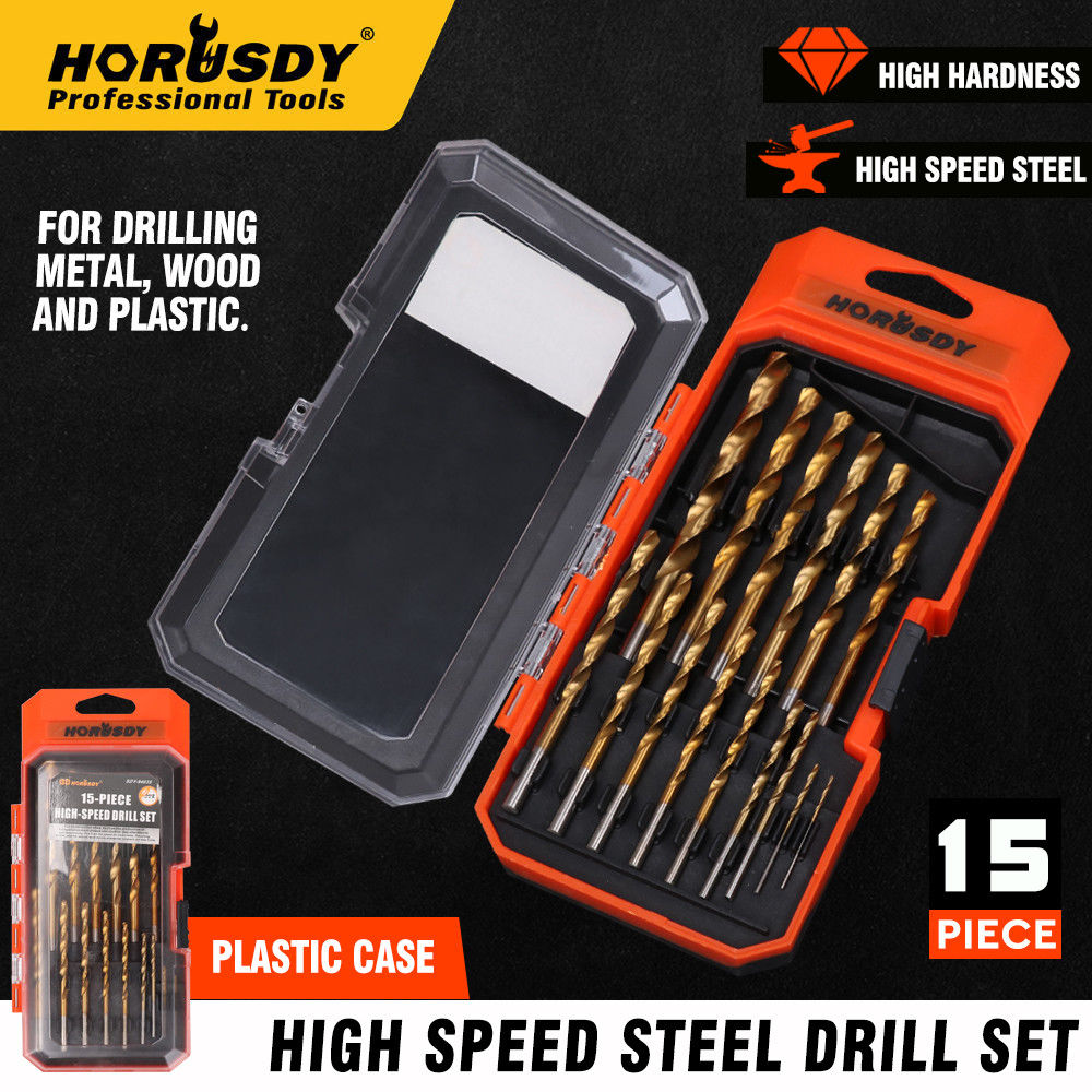 HORUSDY 15pcs Screw Extractor Drill Bit Titanium Coated Drill Bit Set Woodworking Metal Plastic Cutting For Dremel Rotary Tools in Drill Bits from Tools