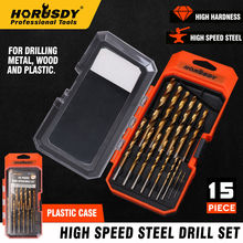 HORUSDY 15pcs Screw Extractor Drill Bit Titanium Coated Drill Bit Set Woodworking Metal Plastic Cutting For Dremel Rotary Tools
