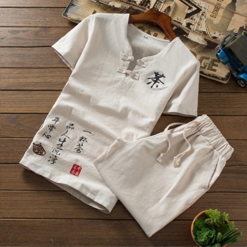 2019 Summer Short Sets Men Suits Cotton Linen Tracksuit Round Neck Male Outwear Sweatshirts Pure Color T Shirt +Pants S-XXL