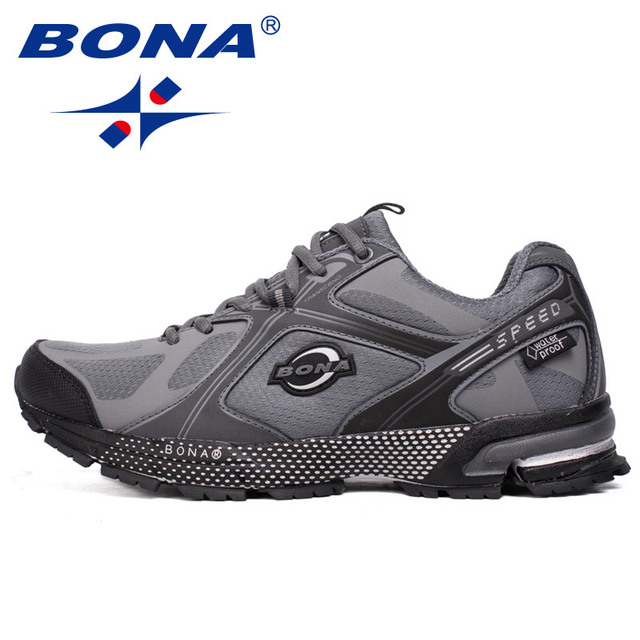 BONA New Waterproof Style Men Running Shoes Ourdoor Walking Sneakers Lace Up Athletic Shoes Comfortable Light Fast Free Shipping 4