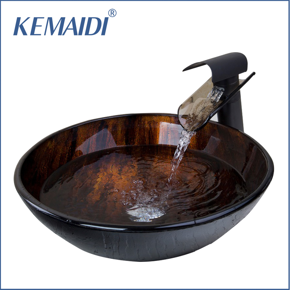 KEMAIDI New Brand Tempered Glass Basin Sink Oil Rubbed Bronze Waterfall Faucet Tap Bathroom Water Drain Bathroom Sink SetKEMAIDI New Brand Tempered Glass Basin Sink Oil Rubbed Bronze Waterfall Faucet Tap Bathroom Water Drain Bathroom Sink Set
