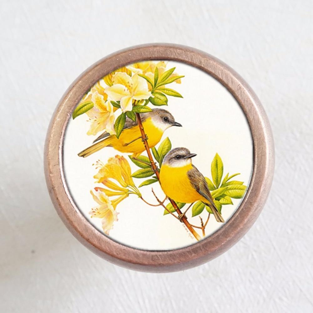 Cute Birds Drawer Knobs Vintage Style Knobs Copper Sliver Bronze Rustic Funiture Door Cabinet Handles Hardware