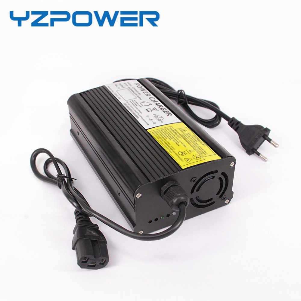 YZPOWER Tự Động-Dừng Lại 54.6 v 5A Lithium Battery Charger Cho 48 v Li-Ion Pin Lipo Gói Làm Mát với Fan bên trong Nhôm Trường Hợp