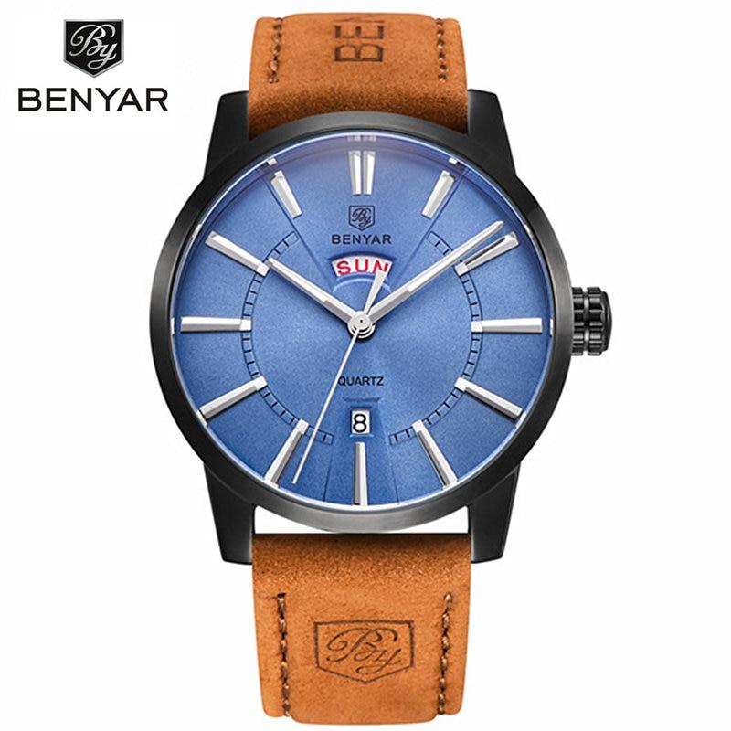 ФОТО BENYAR Men Watches Top Brand Luxury Male Business Quartz Watch Men's Military Sports Waterproof Clock Man Relogio Masculino 2016