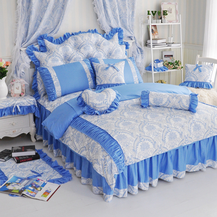 rustique 100 coton princesse dentelle jupe de lit piece set bleu et blanc porcelaine vintage. Black Bedroom Furniture Sets. Home Design Ideas