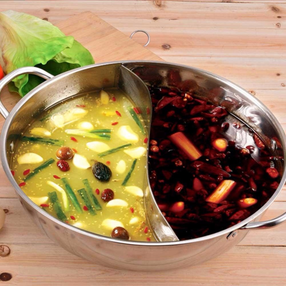 28/32/36 см Нержавеющаясталь Hot Pot Кухня суп фондовой пот посуда для индукционных плит Пособия по кулинарии горшок 0 вт 0 В мандаринка горшок