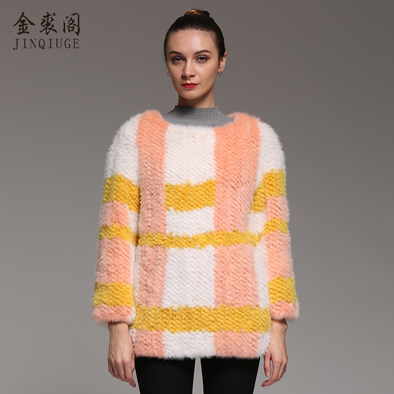 JINQIUGE Real Mink Fur Knitted Coat Casual O Neck Slim Fur Coat Fashion Short Paragraph Knit Pullovers Genuine Mink Fur Coat