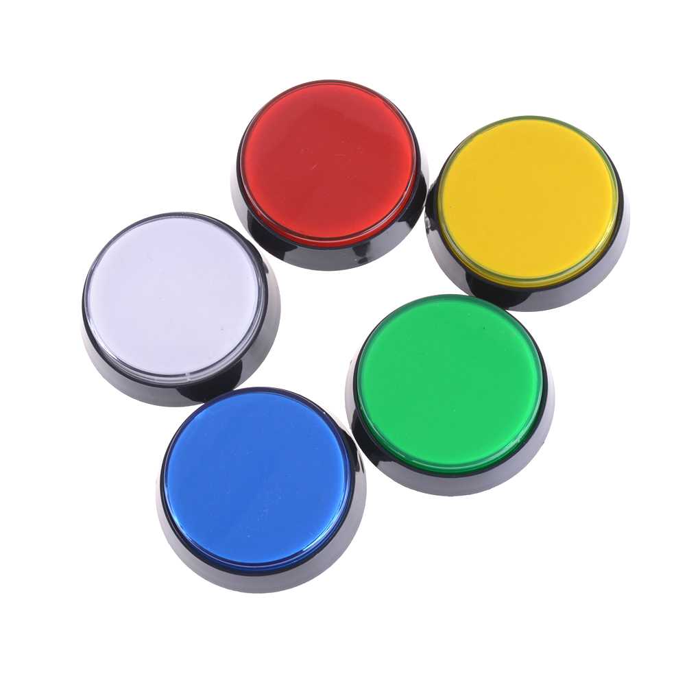 1pcs LED Light Lamp <font><b>60mm</b></font> Big Round Arcade Video Game Player Push <font><b>Button</b></font> Switch For Game Room Arcade <font><b>Button</b></font> 5 Colors image