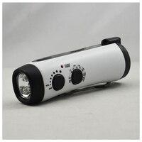 Emergency Power Hand Crank Dynamo 5 LED Flashlight With AM FM Radio For Camping