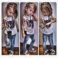 Conjuntos de Roupas Meninas de verão Da Cópia Do Gato Sem Mangas Tops + Calças Jeans 2 pcs Set Crianças Roupas Crianças Terno de roupas infantis menina