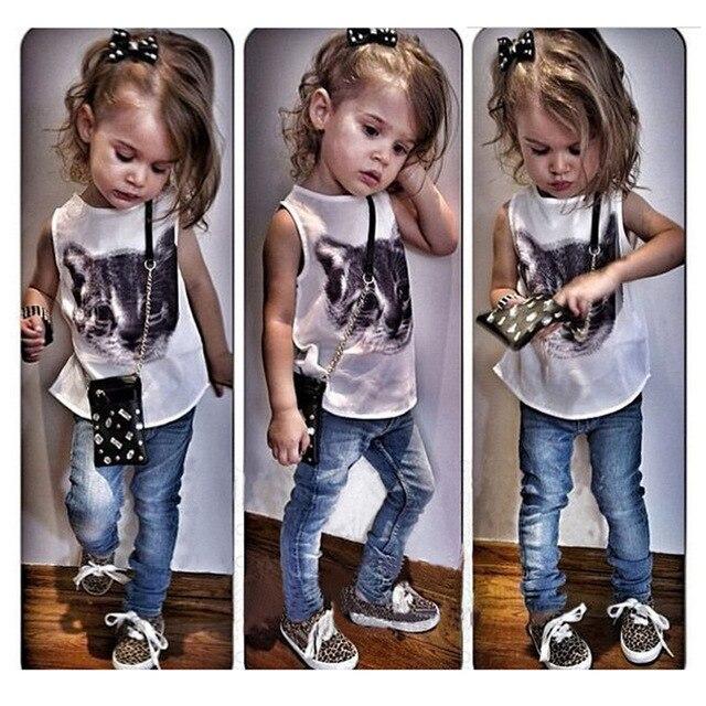 Summer Girls Clothing Sets Print Cat Sleeveless Tops + Denim Pants 2pcs Set Kids Clothes Children Suit roupas infantis menina
