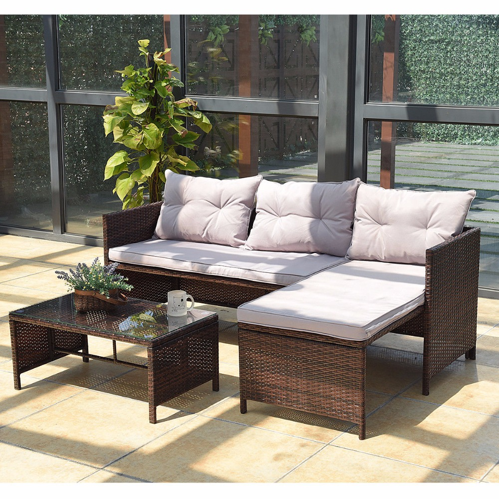 Giantex 3 PCS Outdoor Rattan Furniture Sofa Set Lounge Chaise Sofa ans  Coffee Table Cushioned Patio Garden Furniture HW58535-in Garden Sets from  Furniture ... - Giantex 3 PCS Outdoor Rattan Furniture Sofa Set Lounge Chaise Sofa