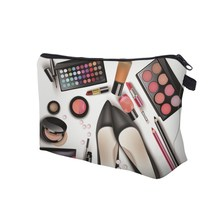 New Arriva Women Lady Travel Cosmetics Bags Zipped 3D Shoes Eyeshadow Lipstick Printing Organizer Pouch Storage Makeup Bag Gifts(China)