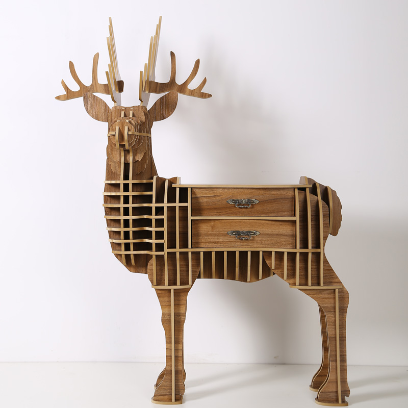 Wood craft deer desk coffee table wooden home