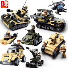 Sluban DIY eductional 8 in 1 Building Blocks Sets Military Army Tank children Kids Toys Christmas Gifts compatible with legoe