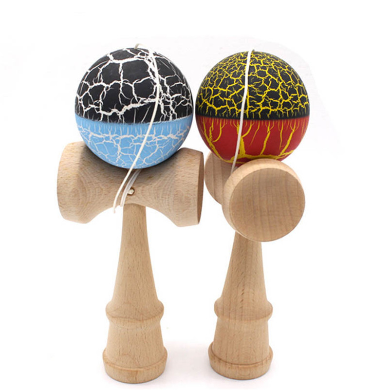 Colores dobles Crack Kendama profesional Kendama juguete de madera hábil juego regalo de juguete para todas las edades cumpleaños regalo