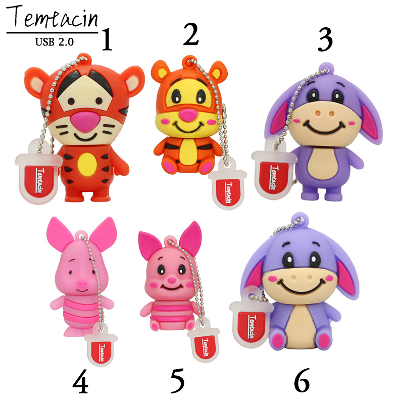 Новыя прыбыцця Cute Pig Pen Drive Tigger Donkey USB Flash Drive жывёл PenDrive 4GB 8GB 16GB 32GB мультфільм сцікаў Cute Memory