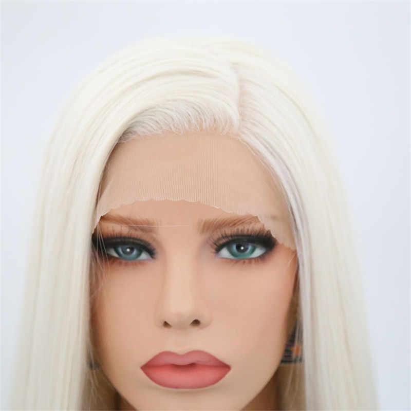 Rongduoyi #60 Platin Blond Synthetische Spitze Front Perücken Für Frauen Lange Seidige Gerade Perücke Hitze Beständig Faser Haar Blonded Perücke