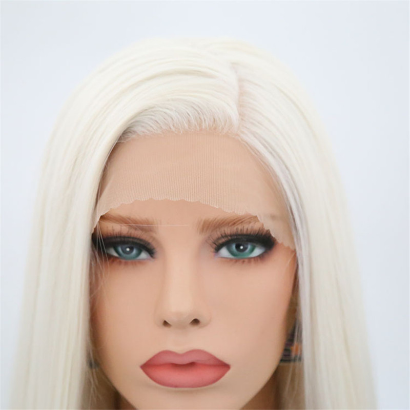 Image 5 - Rongduoyi #60 Platinum Blond Synthetic Lace Front Wigs For Women Silky Straight Side Part Heat Resistant Long Blonded Hair Wig-in Synthetic None-Lace  Wigs from Hair Extensions & Wigs