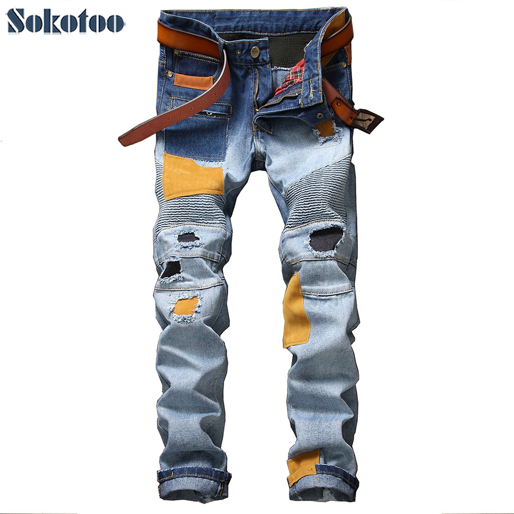Sokotoo Men's casual patches holes ripped biker jeans for moto Fashion pleated patchwork slim straight denim pants Long trousers 2017 new biker men s zipper ripped jeans men slim fit straight moto punk dark long pants mens jeans pleated holes blue pants