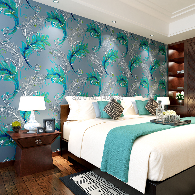 Peacock feather wallpaper for walls for Bedroom 3d wallpaper