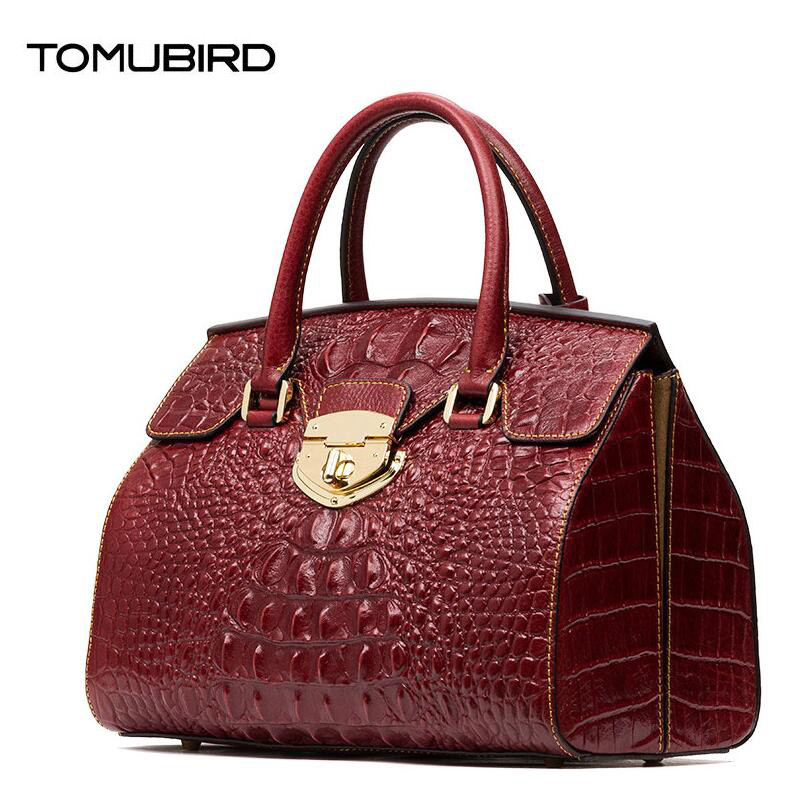 TOMUBIRD new Superior cowhide material Embossed Crocodile Tote famous brand women bag fashion genuine leather handbags tomubird new superior cowhide leather designer rose embossed famous brand women bag fashion tote women genuine leather bag